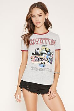 """A heathered knit ringer tee with short sleeves and a """"Led Zeppelin The Song Remains The Same"""" graphic on the front."""