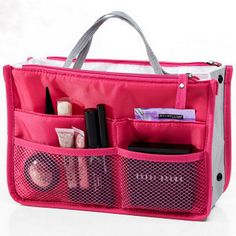 Toiletry Kit Travel Necessaries Necessaire For Women Make Up Makeup Cosmetic Bag In Bag Purse Organizer Beauty Case Pouch Vanity Travel Cosmetic Bags, Travel Toiletries, Travel Bags, Cosmetic Case, Bag In Bag, Pouch Bag, Bag Tag, Make Up Organizer, Handbag Organizer