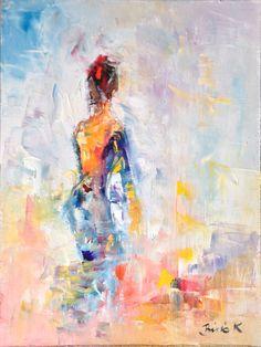 Urban girl by Konrad Biro Oil Painting For Sale, Biro, Impressionist, Portraits, Urban, Texture, Colour, Abstract, Artist