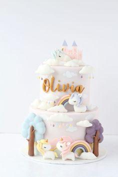 Baby First Birthday Cake, Cute Birthday Cakes, Beautiful Birthday Cakes, Unicorne Cake, Unicorn Cake Design, Fondant Cake Designs, Pastel Cakes, Cute Desserts, Novelty Cakes