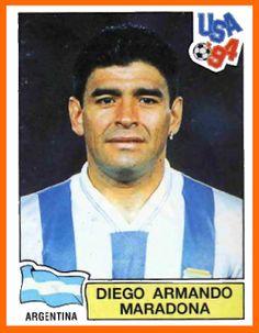 Diego Maradona of Argentina. 1994 World Cup Finals card. Uefa Football, World Football, Football Soccer, Football Players, America Album, Diego Armando, Premier League, Football Memorabilia, Player Card