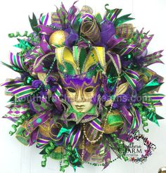 Deco Mesh Mardi Gras Wreath with jester mask by SouthernCharmWreaths