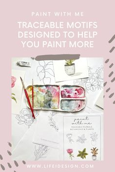 Never run out of ideas of what to paint using your watercolors with this new digital ebook.Paint with Me invites you to print, trace and paint fun and simple botanicals, house plants and florals that will have you practicing your new watercolor skills like a pro! Learn Watercolor Painting, Watercolor Beginner, Watercolor Paper, Motif Design, Learn To Paint, Modern Calligraphy, Painting Techniques, Some Fun, Watercolors