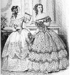 Black and white print of a 1860's gown