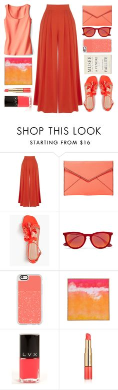"""""""museum visit"""" by juliehalloran ❤ liked on Polyvore featuring Warehouse, Rebecca Minkoff, J.Crew, Ray-Ban, Casetify, LVX and Estée Lauder"""