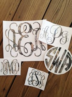 Monogram Vinyl Decal Sticker Camo Camouflage Personalized Monogrammed Initials by Chickadee's Designs
