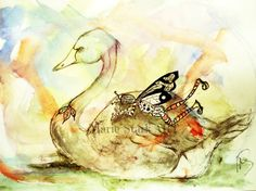 Nap time the fairy and the swan whimsical fairy by MarieStarkART