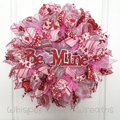 """Valentines Day Wreath, """"Be Mine"""", Red, White, and Pink Deco Mesh, Red Hearts, Valentines Day Decor, Valentines Wreath, Front Door Wreath by WhisperCreekWreaths on Etsy"""