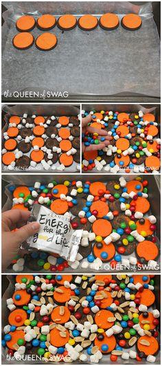 How to Make Fun and Easy Halloween Peanut Marshmallow Bark Recipe.