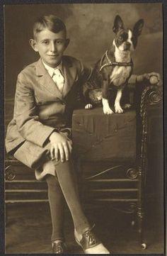 +~+~ Antique Photograph ~+~+   Studio portrait of boy and his Boston Terrier.