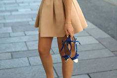 classic {love the camel skirt + the bright blue heels}