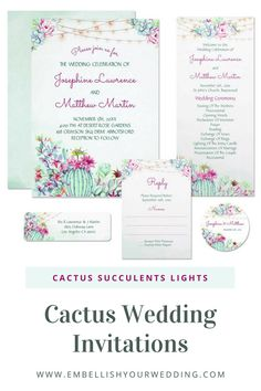 These stunning cactus wedding invitations feature cactus and succulent foliage and string lights. Visit our website to see the full range of matching wedding stationery. #wedding #weddings #weddinginvitations #weddinginvites #weddingstationery #weddinginvitationsuite  #cactuswedding #desertwedding #cactusweddinginvitations #desertweddinginvitations #stringlightweddinginvitations #succulentweddinginvitations