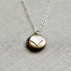 Tiny Brass Locket Sterling Silver Heart Simple by VivaRevival, $27.00