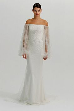Another Marchesa Bridal gown. Look at those beaded bishop sleeves! Swoon!