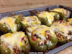 INGREDIENTS: 6 medium green peppers 1 lb ground beef 1 chopped onion 1 (6 7/8 ounce) box of Rice-a-Roni mix, Spanish flavour 1 (16 ounce) can tomato sauce 1 teaspoon sugar 1 (14 1/2 ounce) can tomatoes (for use in making the