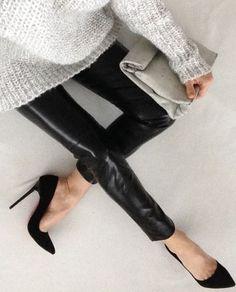 | MODERN + BLACK | #BLACK #leather leggings