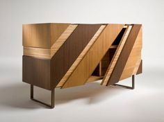 Wooden sideboard with doors SLIDE By i 4 Mariani design Alessandro Dubini Cabinet Furniture, Home Decor Furniture, Wooden Furniture, Furniture Design, Modern Cabinets, Cabinet Design, Furniture Inspiration, Marquetry, Design Products