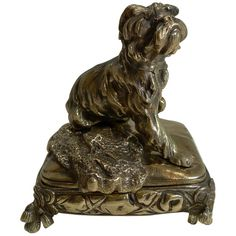 1stdibs Jewelry Box - Antique Bronze Dog Circa 1880 English Late Victorian Brass
