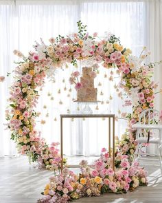 wedding trends 2019 elegant cake table with hanging pare pink white orchid flowe. wedding trends 2019 elegant cake table with hanging pare pink white orchid flower arch georgejohnphotography Deco Floral, Floral Arch, Floral Wreath, White Wreath, Floral Cake, Decoration Evenementielle, Flower Decorations, Wedding Decorations, Engagement Decorations