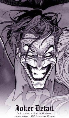 Extra Kool — The Joker detail card from Upperdeck by Andy Brase Joker Cartoon, Joker Comic, Joker Pics, Comic Art, Creepy Smile, Creepy Clown, 3 Jokers, Joker Drawings, Joker Sketch