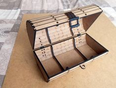 """This box is a remix from the design of """"Treasure Chest with Hasp"""" by I wanted something less box-looking so I've made this arran Cnc Laser, 3d Laser Printer, Laser Cut Plywood, Laser Cutting, Wood Cutting, Cnc Plans, Woodworking Plans, Woodworking Shop, Woodworking Projects"""