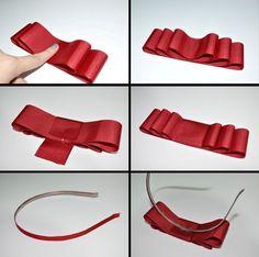 how to make your own bowheadband Ribbon Hair Bows, Diy Hair Bows, Diy Headband, Headbands, Fancy Bows, Ribbon Embroidery Tutorial, Hair Bow Tutorial, Felt Hair Clips, Baby Girl Bows