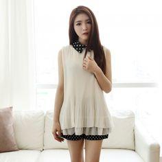Dot collar folds blouse