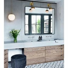 Earthy materials make this bathroom a stand out.