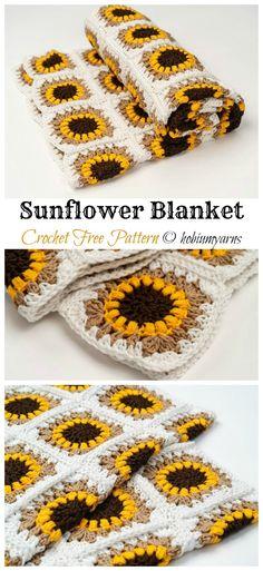 Sunflower Blanket Crochet Free Pattern - Crochet & Knitting