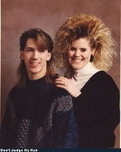 80's hair styles...and turtle necks under a sweater fashion craze!