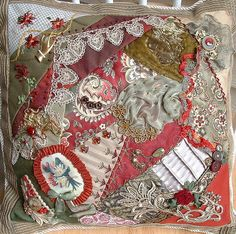 I ❤ crazy quilting & embroidery . . . redgreenpillow01 ~By Crazybydesign
