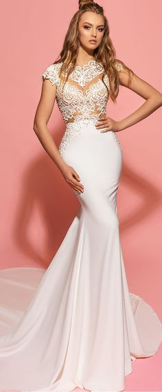 Unique Tulle & Chiffon Jewel Neckline See-through Mermaid Wedding Dresses With Beaded Embroidery