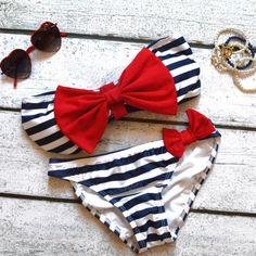 Sailors Girl Navy Striped Red Bow Bandeau Bikini ($35)