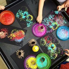 Recycle toilet rolls to create the perfect firework printer. Dip them into coloured paints and print onto black card to create firework… Autumn Eyfs Activities, Bonfire Night Activities, Bonfire Night Crafts, Diwali Activities, Nursery Activities, Diwali Eyfs, Diwali Facts, Tuff Tray Ideas Toddlers, Diwali For Kids