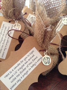 Great baby shower idea. Wrap votives in burlap and write a little prayer for baby.