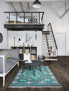 Check Out 25 Impressive Loft Bedroom Design Ideas. A loft bedroom can be built in a small studio apartment as well as in a spacious industrial building. Loft Design, Design Case, House Design, Design Design, Urban Design, Loft Room, Bedroom Loft, Mezzanine Bedroom, Bedroom Rugs
