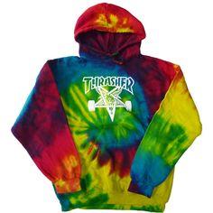 THRASHER SKATE GOAT TIE DYE HOODIE parka pullover slasher-limited... ($98) ❤ liked on Polyvore featuring tops, hoodies, jackets, sweatshirt hoodies, hooded pullover, tie dye hoodies, hoodies pullover and tye dye hoodies