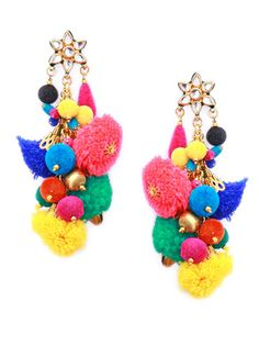 Vibrant colourful pompom earrings for a cheerful get together, luncheon or evening with friends.