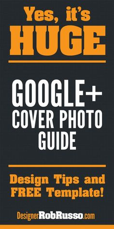 The new Google+ cover photo design size is here. It's HUGE in size ... and a huge #branding opportunity. Here's my thoughts, tips and first design. Download my free template here: http://designerrobrusso.com/new-google-plus-cover-photo-design-ideas/