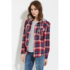 Forever 21 Women's  Hooded Plaid Flannel Shirt ($25) ❤ liked on Polyvore featuring tops, forever 21, shirts & tops, long sleeve collared shirt, forever 21 tops and collared shirt
