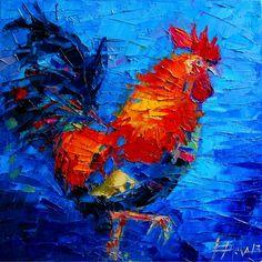 """Concours du mois de février, thème """"oiseaux"""" : 1er prix : Mona Edulesco, """"Coq gaulois"""", Huile sur toile, 40x40 cm, 2013"""