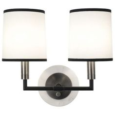 Axis Double Wall Sconce (Antique Nickel/White) - OPEN BOX by Robert Abbey at Lumens.com