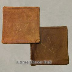 Get comfy with these Cowhide Pillows:15″ Texas Star