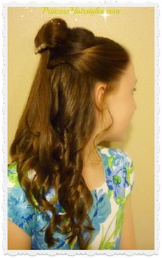 Hairstyles for girls, cute hairstyles & tutorials for waterfall braids, fishtail braids, how to french braid, dutch braid & prom hairstyles. Beauty And The Beast Wedding Theme, Beauty And Beast Birthday, Little Girl Hairstyles, Cute Hairstyles, Wedding Hairstyles, Church Hairstyles, Belle Makeup, Cinderella Hair, Disney Princess Hairstyles