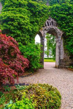 The Armadale Castle ruins stand amid beautiful gardens, Isle of Skye, Scotland