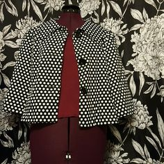 Chic polka dot blazer So cute, great with a basic top & jeans. Easy to dress up or dowb! 3/4 sleeves, shoulder pads. Buttons down front.  Shell 95% cotton 5% spandex  Lining 100% acetate Willi Smith Jackets & Coats Blazers