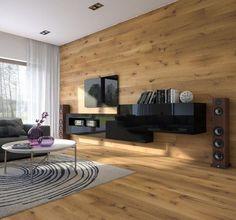 revêtement sol et parement mural salon en bois naturel massif