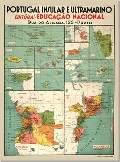 Map of the Portuguese colonial empire Portuguese Empire, Portuguese Culture, Vintage Advertisements, Vintage Ads, Vintage Posters, History Of Portugal, Old Scool, Vintage School, Air France
