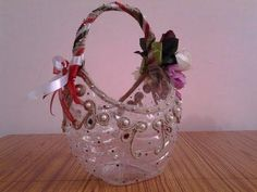 Best Out Of Waste Plastic Bottle transformed to a pretty gift basket Plastic Bottle Crafts, Recycle Plastic Bottles, Plastic Recycling, Plastic Glass, Craft From Waste Material, Farm Animal Crafts, Plastic Curtains, Mason Jar Crafts, Recycled Crafts