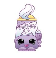 """Dollops (Shopkins 1-071, 1-079) Dollops is a purple can of whipped cream that reads """"Whip!"""" She holds a whisk in her left hand. A bit of whipped cream is spurting out of her nozzle at the top. Her variant is colored blue. Dollops is a common Dairy Shopkin from Season One."""
